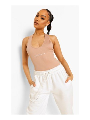 Boohoo Woman Embroidered Rib Scoop Neck One Piece