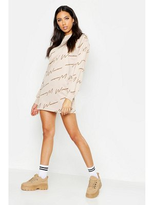 Boohoo Woman Script All Over Print Sweat Dress