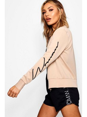 Boohoo Woman Sleeve Slogan Scuba Bomber Jacket