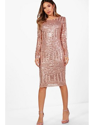 Boohoo Boutique Sequin and Mesh Midi Dress