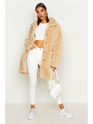 Boohoo Button Through Teddy Faux Fur Coat