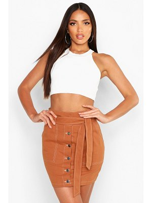 Boohoo Contrast Stitch Belted Mini Skirt