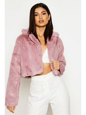 Boohoo Crop Collared Faux Fur Coat