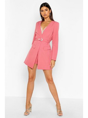 Boohoo Diamante Buckle Belted Collarless Blazer