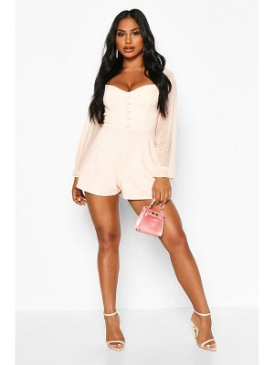 Boohoo Off The Shoulder Mesh Button romper