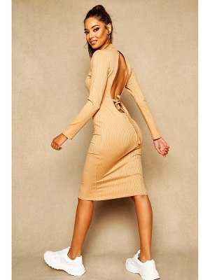 Boohoo Open Back Ribbed Midi Dress