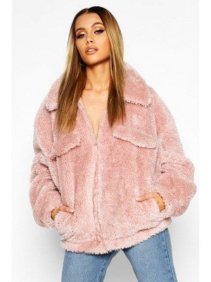Boohoo Oversized Teddy Faux Fur Trucker