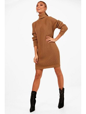 Boohoo Roll Neck Cable Detail Dress