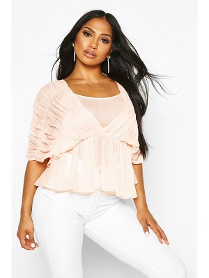 Boohoo Ruched Angel Sleeve Blouse