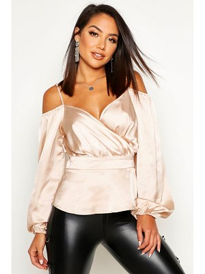 Boohoo Satin Cold Shoulder Peplum Blouse