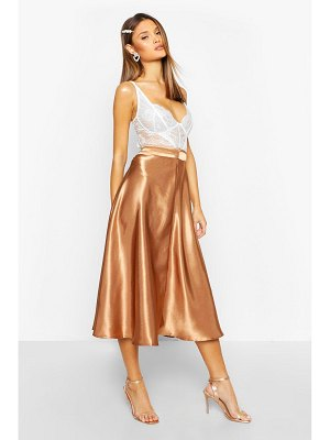 Boohoo Satin Full Midi Skirt