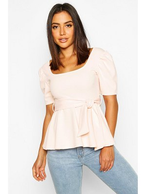 Boohoo Square Neck Tie Waist Puff Sleeve Peplum Top