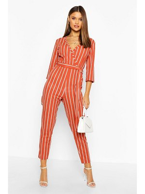 Boohoo Stripe Wrap Jumpsuit