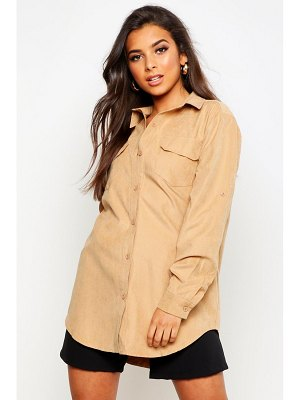 Boohoo Suedette Pocket Detail Oversized Shirt