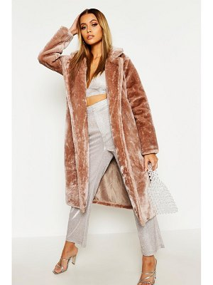 Boohoo Textured Faux Fur Belted Coat