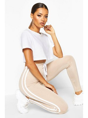 Boohoo Tie Detail Sports Stripe Leggings