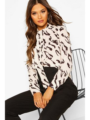 Boohoo Woven Animal Print Pussy Bow Blouse