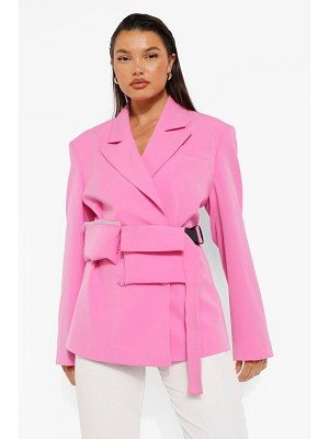 Boohoo Woven Branded Blazer With Beltbag