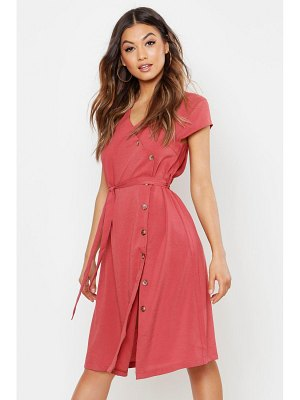 Boohoo Woven Button Midi Dress