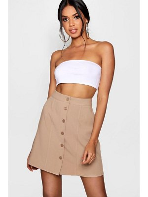 Boohoo Woven Button & Seam Mini Skater Skirt