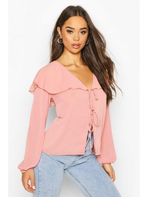 Boohoo Woven Cape Detail Tie Front Blouse