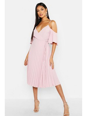 Boohoo Woven Cold Shoulder Pleated Midi Skater Dress