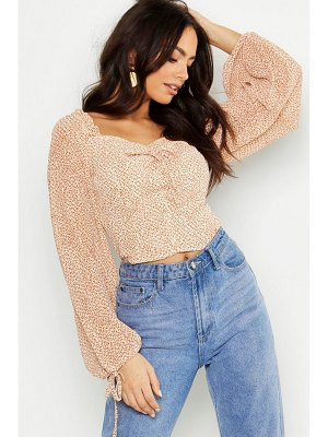 Boohoo Woven Ditsy Print Volume Sleeve Crop Top