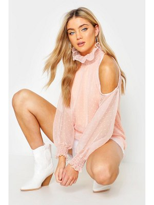 Boohoo Woven Dobby Spot Cold Shoulder Blouse