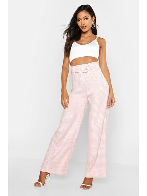 Boohoo Woven Dogtooth Round Cover Buckle Pants
