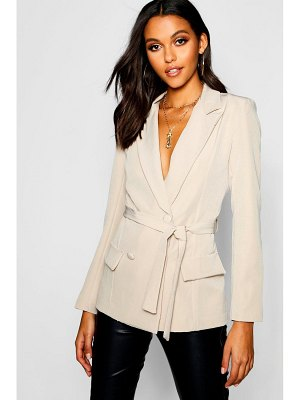 Boohoo Woven Fitted Double Breasted Tie Belt Blazer