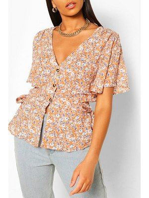 Boohoo Woven Floral Button Through Blouse