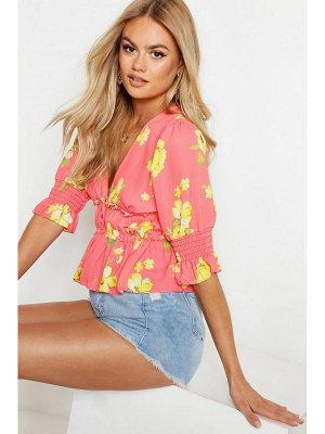 Boohoo Woven Floral Shirred Blouse