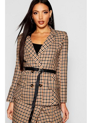 Boohoo Woven Mini Check Belted Blazer