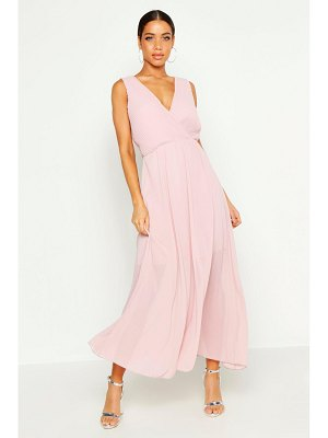 Boohoo Woven Pleated Wrap Maxi Dress
