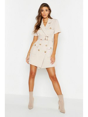 Boohoo Woven Pocket Belted Utility Dress