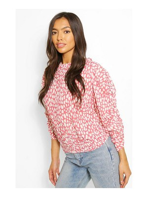 Boohoo Woven Printed Ruched Sleeve Blouse