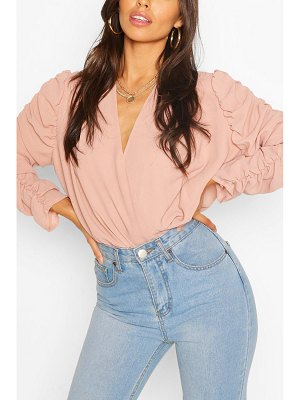 Boohoo Woven Ruched Sleeve Blouse