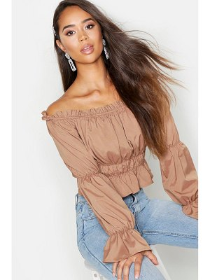 Boohoo Woven Shirred Off The Shoulder Top