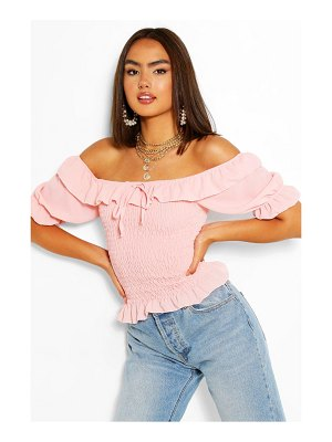 Boohoo Woven Shirred Puff Sleeve Top