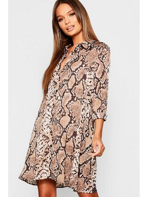 Boohoo Woven Snake Print Swing Shirt Dress