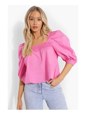 Boohoo Woven Square Neck Puff Sleeve Smock Top