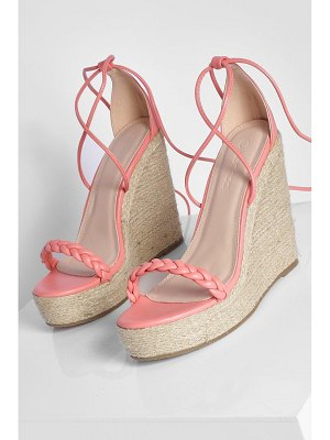 Boohoo Woven Strap Wrap Up Wedge