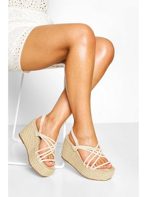 Boohoo Woven Strappy Espadrille Wedges