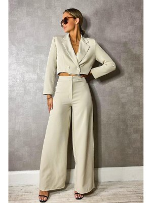 Boohoo Woven Tailored Cropped Blazer