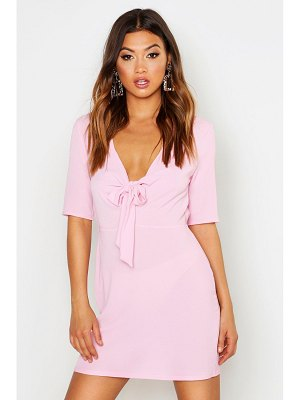 Boohoo Woven Tie Front Shift Dress