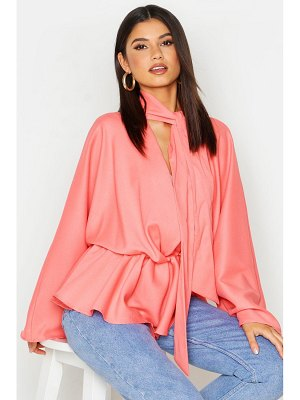 Boohoo Woven Tie Neck Batwing Blouse