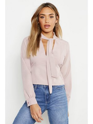 Boohoo Woven Tie Neck Fitted Blouse
