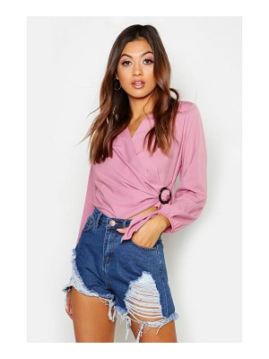Boohoo Woven Wrap Round Buckle Blouse