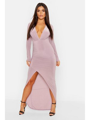 Boohoo Wrap Detail Long Sleeve Maxi Dress