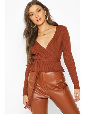 Boohoo Wrap Front Belted Knitted Top